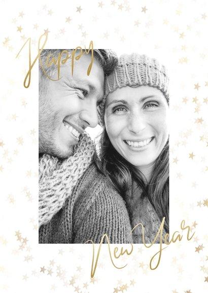 """Kerstkaart grote foto, gouden sterren en """"Merry Christmas"""" 2"""