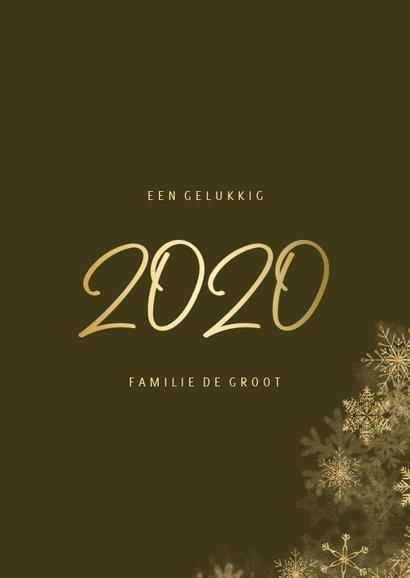 Kerstkaart grote foto met sneeuwkader en gouden 2020 3