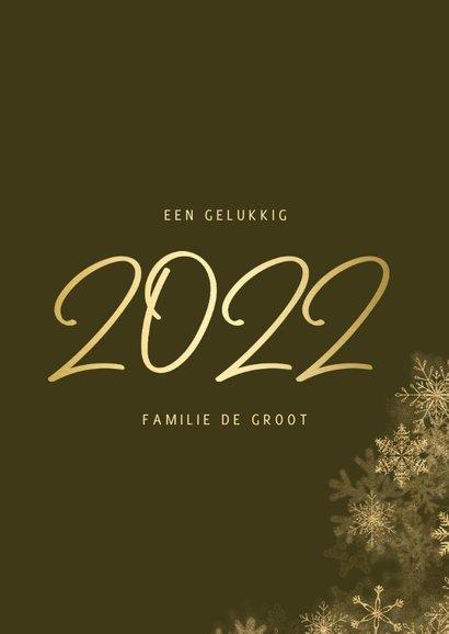 Kerstkaart grote foto met sneeuwkader en gouden 2022 3
