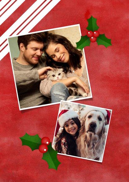 Kerstkaart grote foto, rood, hulst en Merry Christmas! 2