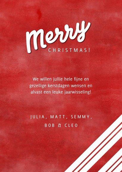 Kerstkaart grote foto, rood, hulst en Merry Christmas! 3