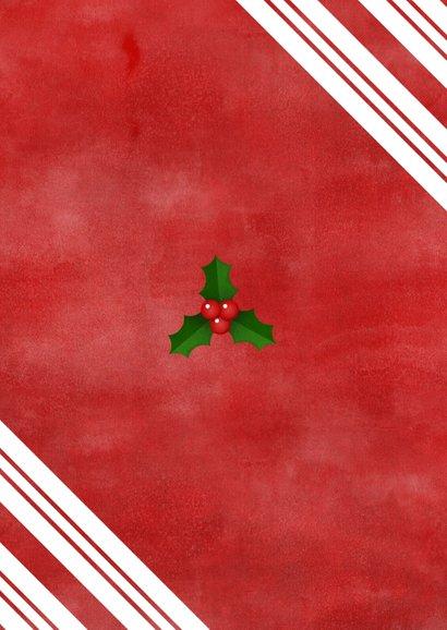 Kerstkaart grote foto, rood, hulst en Merry Christmas! Achterkant