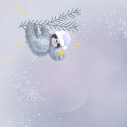 Kerstkaart Hang in there met luiaard 2