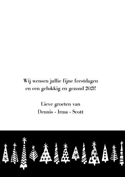 Kerstkaart happy 2021 bomen 3