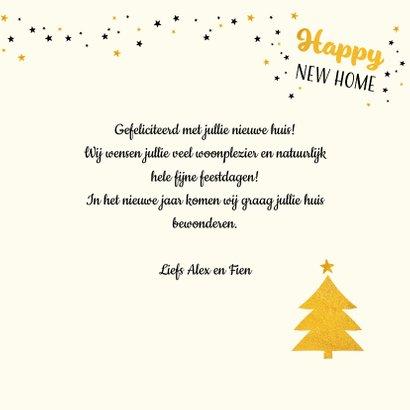 Kerstkaart happy new home met goudkleur accenten  3