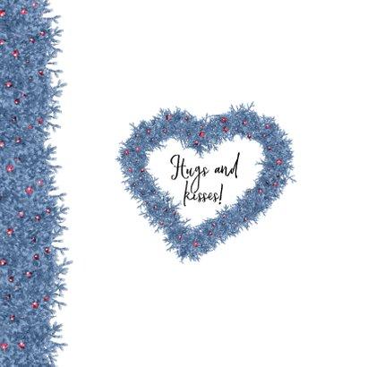 Kerstkaart hart en label blauw 2