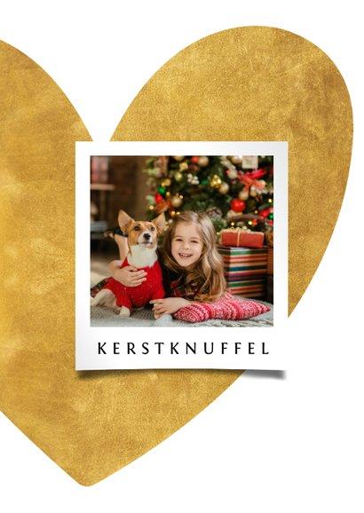 Kerstkaart hart van goud met foto 2