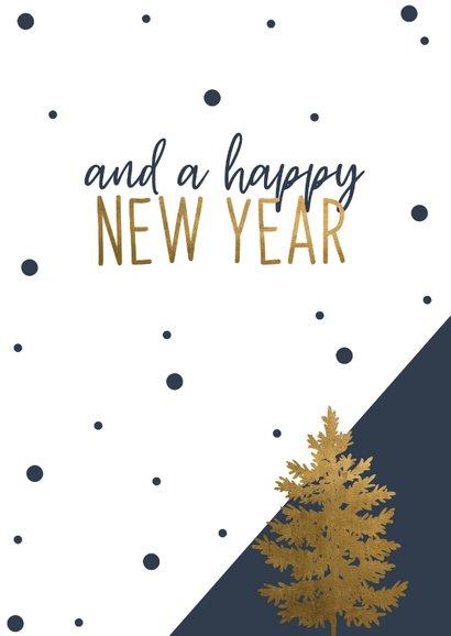 Kerstkaart | Have a wonderful Christmas Blauw/goud 2