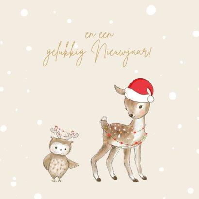 Kerstkaart - Hertje en uil met kerstmuts en lampjes 2