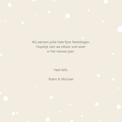 Kerstkaart - Hertje en uil met kerstmuts en lampjes 3