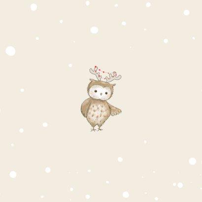 Kerstkaart - Hertje en uil met kerstmuts en lampjes Achterkant