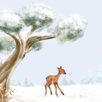 Kerstkaart hertjes en roodborst in de sneeuw 2