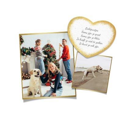 Kerstkaart hertjes goud persoonlijk foto gedicht kerstboom 2