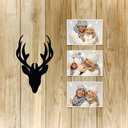 Kerstkaart hip hert hout, krijtbord en eigen foto's 2