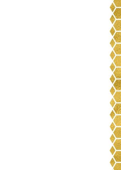 Kerstkaart honingraat met goud  Achterkant