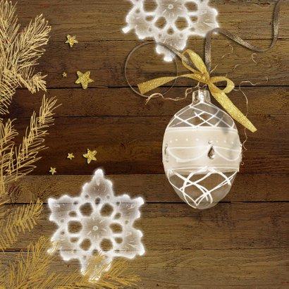 Kerstkaart hout goud chique met eigen foto 2