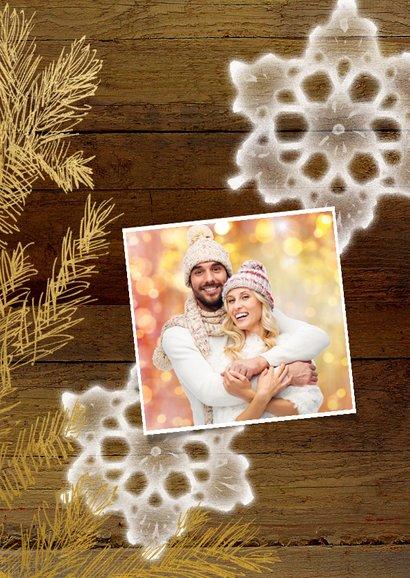 Kerstkaart hout goud - SG 2