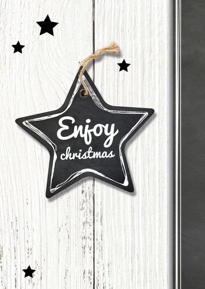 Kerstkaart houten achtergrond met ster label 2