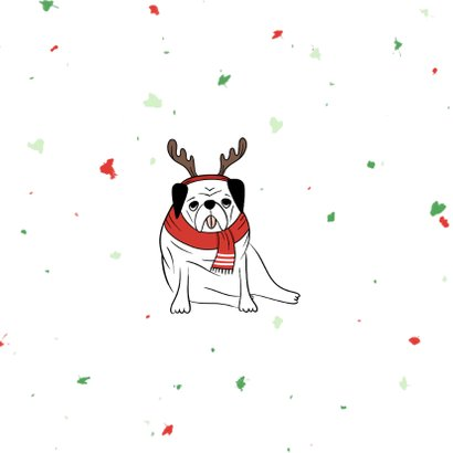 Kerstkaart humor puggy christmas met confetti 2