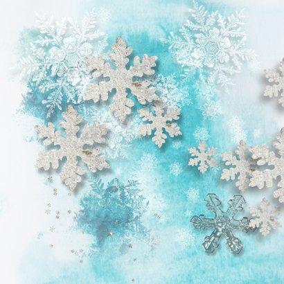 Kerstkaart ijsblauw winter eigen foto en logo 2
