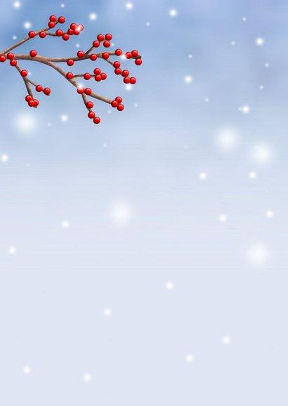 Kerstkaart illustratie hert met hulst besjes 2