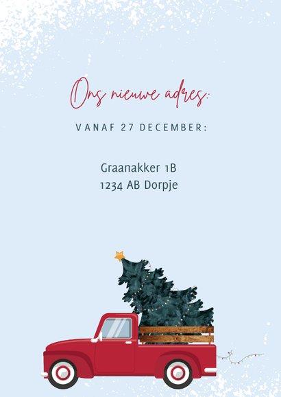 Kerstkaart illustratie van rode pickup en drie foto's 2