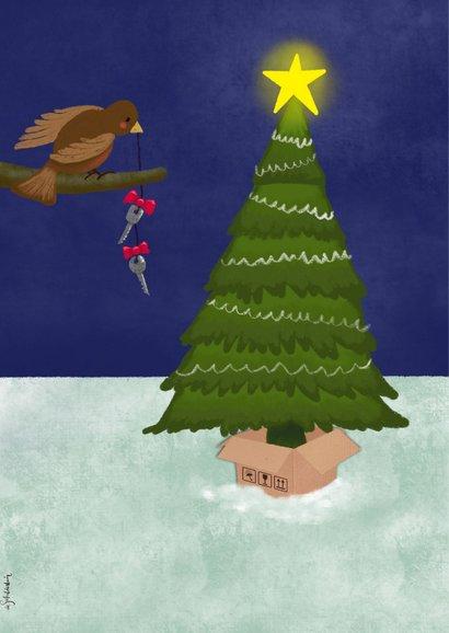 Kerstkaart illustratie verhuisdozen bij kerstboom avond 2
