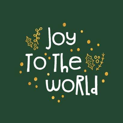 Kerstkaart 'joy to the world' goudlook 2