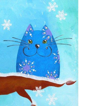 Kerstkaart Kat en Vogeltje in de winter 2