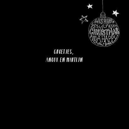 Kerstkaart kerstbal zwart-wit 3