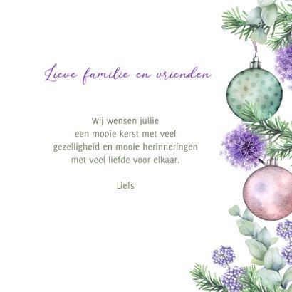 Kerstkaart kerstballen botanische takjes 3