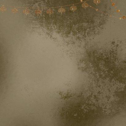 Kerstkaart kerstballen goud met wit op brons Achterkant
