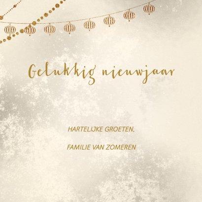 Kerstkaart kerstballen goud met wit 3
