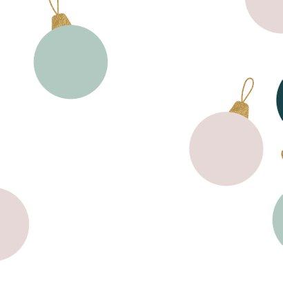 Kerstkaart kerstballen talen goud pastel Achterkant