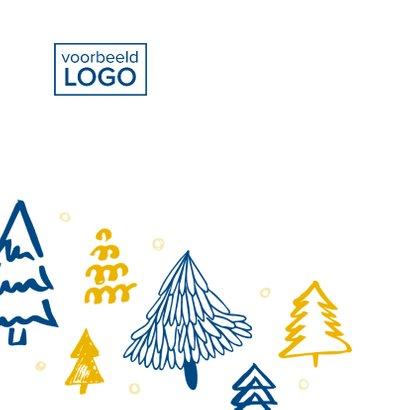 Kerstkaart kerstbomen blauw en goud 2