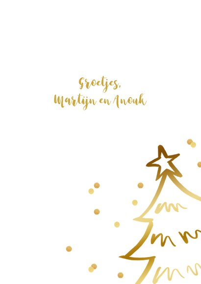 Kerstkaart kerstboom confetti goudlook wit 3