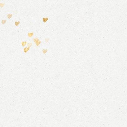 Kerstkaart kerstboom gouden hartjes op wit 2