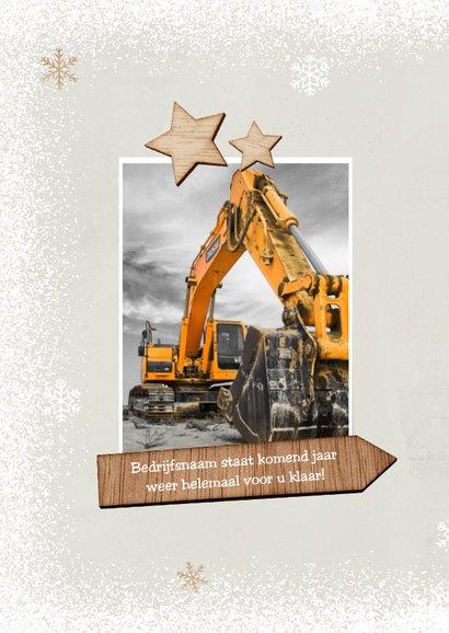 Kerstkaart kerstboom hout industrieel ster sneeuw positief 2