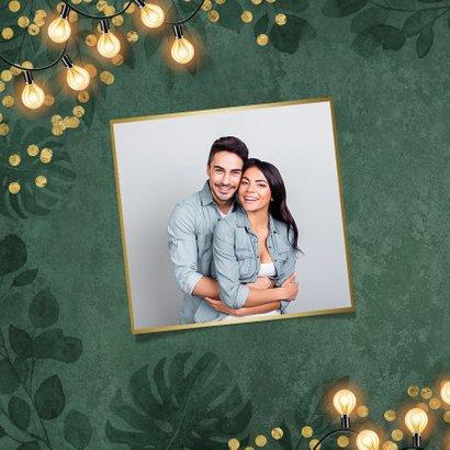 Kerstkaart kerstdiner botanisch goud confetti uitnodiging 2