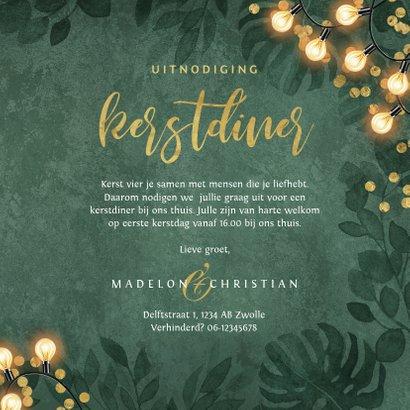 Kerstkaart kerstdiner botanisch goud confetti uitnodiging 3
