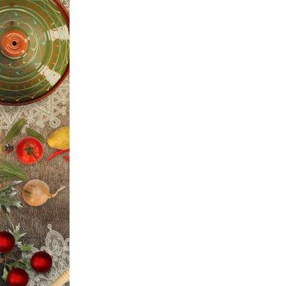 Kerstkaart kerstdiner sfeer keuken Achterkant
