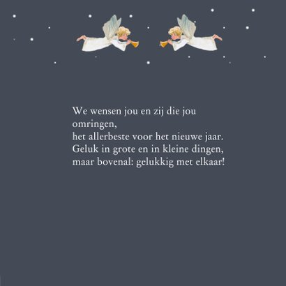 Kerstkaart Kersthuis met engelen 3