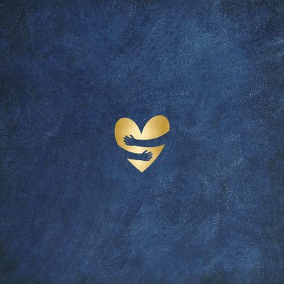 Kerstkaart kerstknuffel bij ziekte of verdriet - gouden hart Achterkant