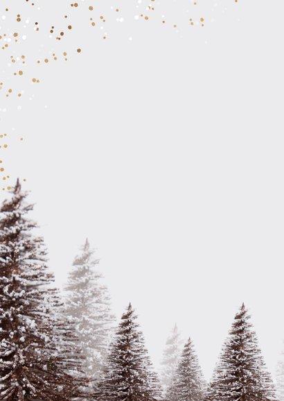 Kerstkaart kerstknuffel winter kerstbomen goud confetti 2