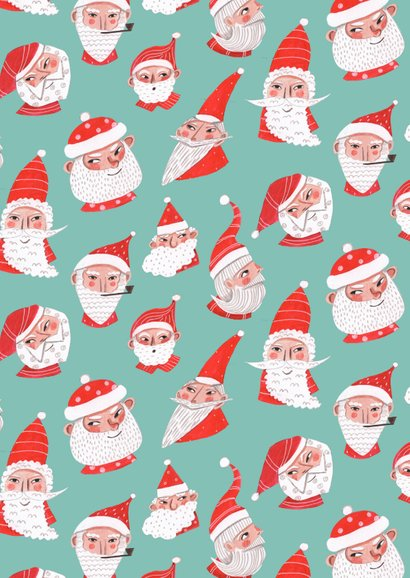 Kerstkaart kerstmannetjes Achterkant