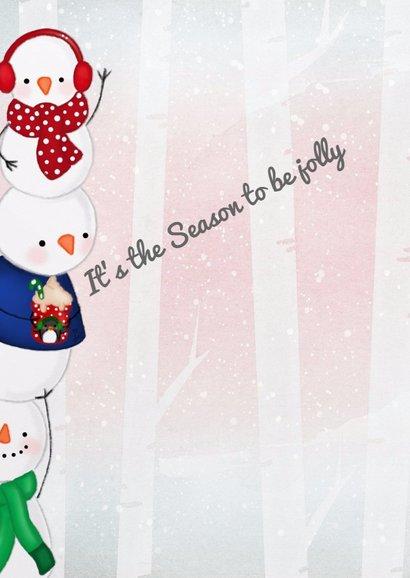 Kerstkaart kerstmis Jolly Snowmen 2