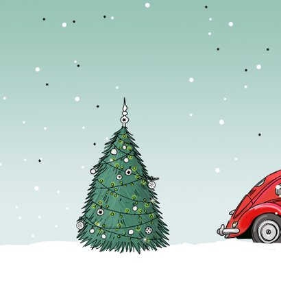 Kerstkaart Kever rood 3