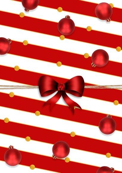 Kerstkaart klassiek kerstballen en kraft Achterkant