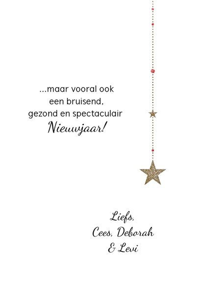 Kerstkaart koolmees op sterren met goud en zilver glitters 3