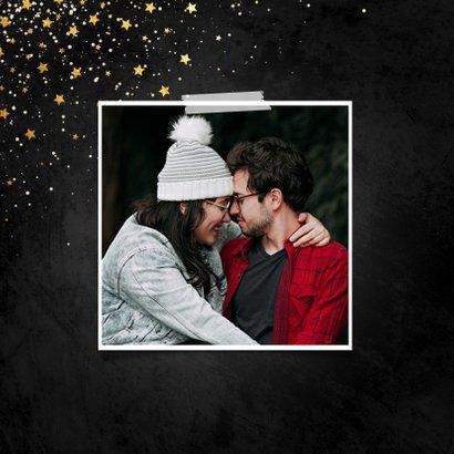 Kerstkaart krijtbord 2 foto's met sterren  2